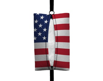 Auto Sneeze - USA American Flag- Visor Tissue Case/Cozy - Car Accessory Automobile Red White and Blue Patriotic America Stars and Stripes