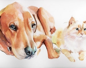 Deposit for 10x14 custom dog watercolor