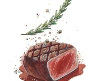 Steak au Poivre - Ready to Frame Print