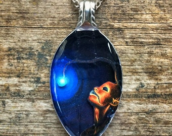 RW2 Angler Fish Mermaid Spoon 3D Necklace Pendant Surreal Art by Robert Walker