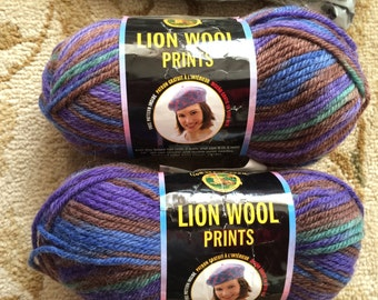 Lion Wool Prints-Two skeins-Majestic Mountain-Discontinued Yarn-Pure Wool-Knitting, Crochet, Felting