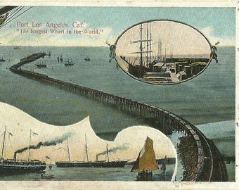 Vintage 1910s Postcard Los Angeles California Longest Pier in the World Wharf Boats Ships Nautical Port Divided Back Era Postmarked