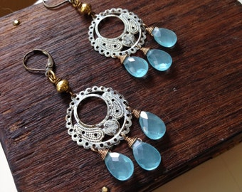 Beachy Summer Chandelier Earrings. Aqua Blue Caribbean Blue