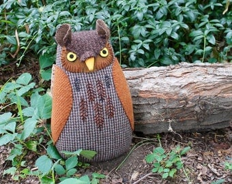 Embroidered Brown Wool Horned Owl doll textured pillow softie plush