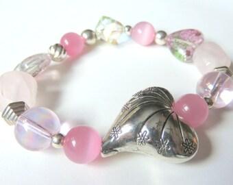 Romantic Rose Quartz Stretch Bracelet, Breast Cancer Awareness, Pink and Silver Heart Beaded Bracelet, Gift for Her