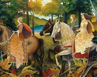 Autumn Riders 12x18 Poster Fine Art Print Renaissance Medieval Surreal Fall Forest Equine Goddess Art
