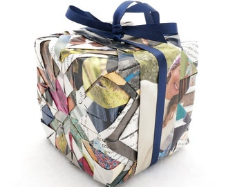 """Recycled Magazine Quilted Christmas Cube Handmade OOAK 3"""" Ornament - Navy Blue Pink Yellow Green Pages Hand Folded over Styrofaom"""