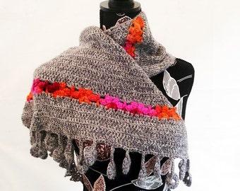 Dancing marguerites Shawl - Crochet pattern in pdf - Easy stunning sideways shawl - Any yarn, any gauge