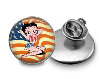 Betty Boop Flag Tie Tack or Lapel Pin - Men's - Father's Day