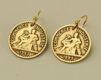 French Coin Earrings 1923 Mercury God of Commerce