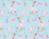 Butterfly Floral in BLUE, with PINK,RED, ,/ Zoey's Garden by Tanya Whelan Fabric /- 1 Yard Cotton Quilting Fabric