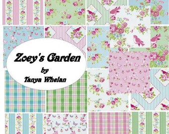 Complete collection, Zoey's Garden by Tanya Whelan Fabric,1/2 Yard Bundle /  Cotton  Quilting Fashion Fabric / Complete Collection