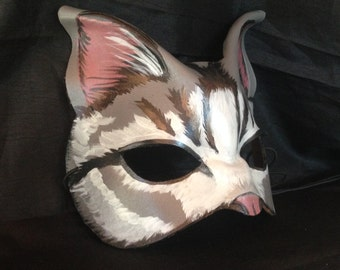 CAT MASK Grey Moon Cat, leather cat mask, realistic cat mask, beautifully hand painted by Faerywhere