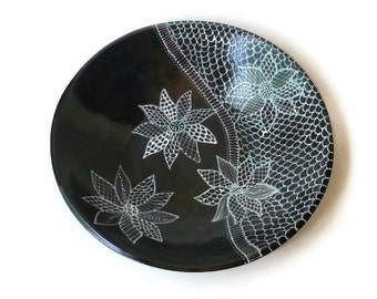 Large Ceramic Serving Bowl with Doodle Design Black White Turquoise
