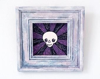 Teeny Tiny Skull Painting - Original acrylic in hand painted frame