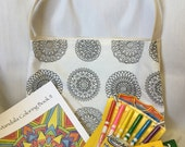 Coloring Totebag Carryall Custom Upcycled Coloring Book Colored Pencils Fabric Markers