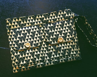 Black Triangles Metallic Gold Wristlet Wallet, Fabric Wallet Wristlet, Iphone Wristlet, Wristlet Purse, Cell Phone Wristlet, 144 Collection