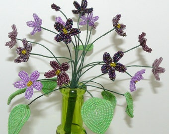 French Beaded Violets in Green Vase