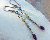 MULTI Gemstone earring, LONDON Blue Topaz, Peridot, Amethyst earrings, sterling silver