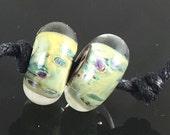 Lampwork Glass Boro Borosilicate Beads Pair / Set of 2 Handmade