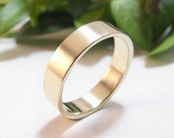Wedding Band Modern Men's Wedding Ring Sterling Silver, Women's Wedding Band, Plain Wedding Band Womens Wedding Ring
