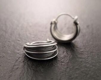 Earrings - Triple-Ribbed Sterling Silver Hoop Earrings - Handmade in Seattle