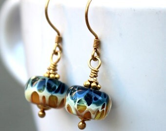 Tan and Blue Lampwork Earrings, Gold Glass Earrings, Gold Vermeil Earrings, Dangle Earrings, Lampwork Jewelry