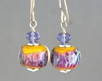 Lampwork Earrings, Glass Earrings, Sterling Silver Earrings, Dangle Earrings, Shimmer Black and Purple Earrings