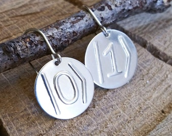 Quantum Bit Sterling Silver Geeky Nerdy Earrings -ket 0 and ket 1 - Science Jewelry, Scientist, Woman, Physics Teacher, Qubit, Computing