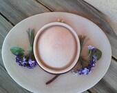 Vintage 1950s Straw Hat Violets 50s Cartwheel Saucer Hat 2016379
