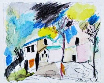 Original watercolor sketch on paper, graphite, aquarelle pencils, blues, Mediterranean landscape
