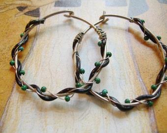 Sterling Silver Hoop Earrings, Wire wrap Hoop Earrings, Hoop Earrings