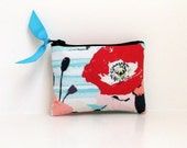 Coin Purse or Business card holder in Floral Stripe
