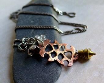 Amulet Talisman Necklace Tribal Primitive Mixed Metals, Copper Silver Brass Charm Necklace