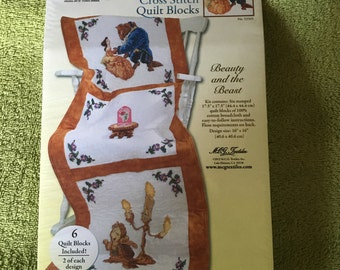 Disney Beauty and the Beast Stamped Quilt Blocks FREE SHIPPING