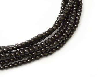 2mm Jet Black Czech Round Glass Pearls Beads 50 pcs