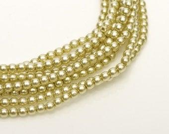 2mm Khaki Czech Round Glass Pearls Beads 50 pcs