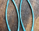 Blue Patina Copper Sea Grass Bars - Set of 4 - Hammered Hole Punched Bars