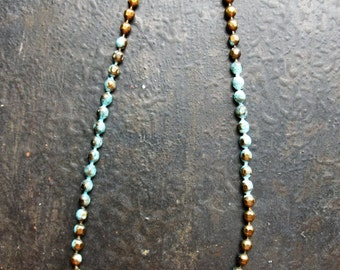 7 inch Antiqued Brass and Blue Patina Ball Chain Bracelet