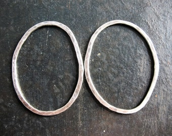 Hammered Organic Oval Links in Antiqued Sterling - 1 pair