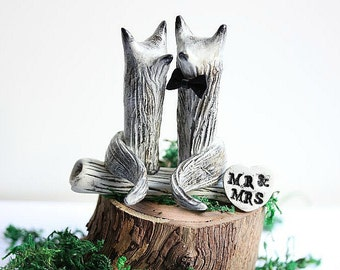 Wolf Wedding cake topper - Clay Wolves- Grey Brown Wolves - Woodland Cake Topper - Rustic Cake Topper - Wolf Cake Topper MADE TO ORDER
