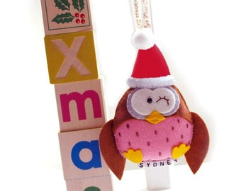 Santa Owl, Personalized Holiday Gift, Stocking Stuffer Idea for Kids and Adults, Baby's First Christmas 2016 keepsake, Unique Tree Ornament