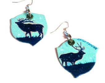 Cosmic Elk - hand-painted starry night silver earrings with enamel chain Free Shipping