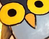 Owl Original Art Coaster Ceramic