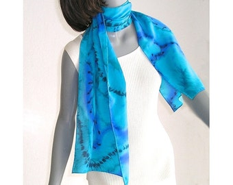 Turquoise Silk Scarf, Hand Painted Silk, Scuba Blue Scarf, Classic Blue Teal Cerulean, One of a Kind, Artisan Handmade, Jossiani,