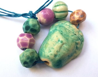 Ceramic Buddha Bead Bundle Bright and Beautiful Colors Turquoise Pink and Teal