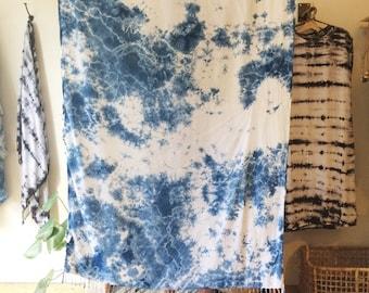 Indigo Hand Dyed Rayon Wrap in DEEP SEA, Shibori, Anna Joyce, Portland, Oregon