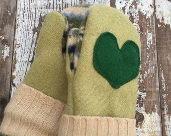 SALE- Upcycled Felted Wool Mittens- Green-Wool Mittens-Heart Mittens