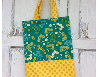 30%OFF SUPER SALE- Floral Tote Bag-Library Bag-Teal and Yellow