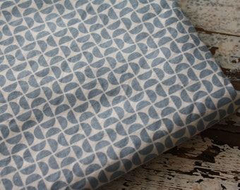 Blue Geometric Fabric-Reclaimed Bed Linens Fabric